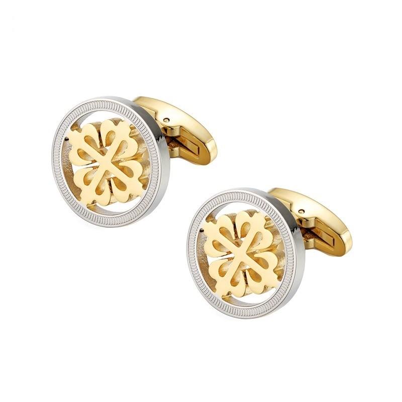 Elegant silver / gold round cufflinks - crusaders - stainless steel
