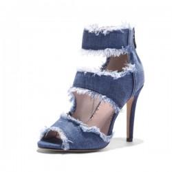 High heel denim sandals - with back zipper