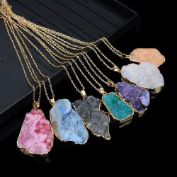 Crystal Natural Stone Pendant 45cm Chain Necklace