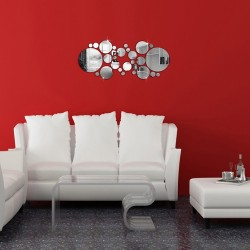 Polka dot - round mirrors - wall sticker - 30 pieces set