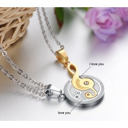 Romantic Musical Notes Splicing Pendant Stainless Steel Necklace