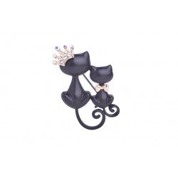 Mother & Daughter Cats Crystal Crown Pin Brooch