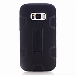 Samsung Galaxy S8 Rubber TPU & PC Hard Armor Back Cover With Stand