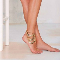 Gold Multilayer Tassels Chain Anklet Bracelet