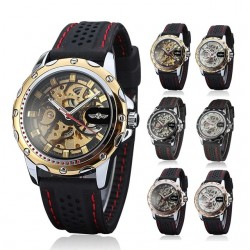 Hollow Engraving Elegant Genuine Silica Gel Strap Automatic Mechanical Men's Watch