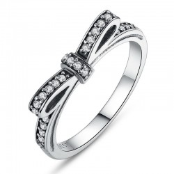 925 Sterling Silver Sparkling Bow Knot Women's Ring