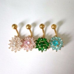316L Stainless Steel Flower Crystal Bar Belly Button Navel Piercing