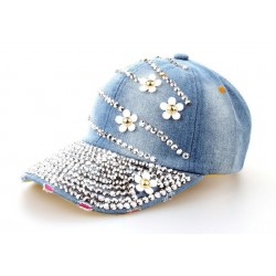 Cotton Jeans Rhinestone Cap Baseball Hat