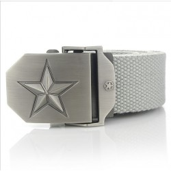 Metal buckle with star - military canvas strap - unisex