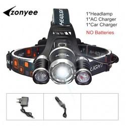 Forehead headlight - zoom flashlight - torch - 3 XML-T6 LED lamp