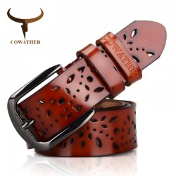 Genuine leather belt with flower motif