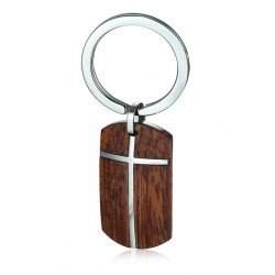 Stainless steel cross rosewood keyring keychain