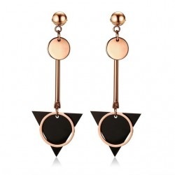 Double circle & triangle - long earrings