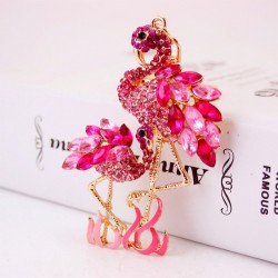 Crystal Flamingo Bird - keychain