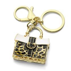 Crystal leopard handbag - keychain