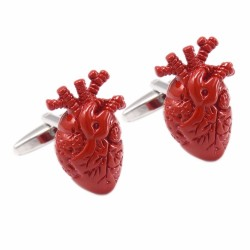 Trendy cufflinks with a red heart