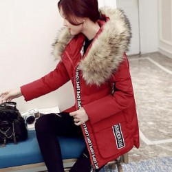 Women's waterproof parka jacket with fur hood