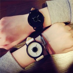 Leather quartz watch unisex