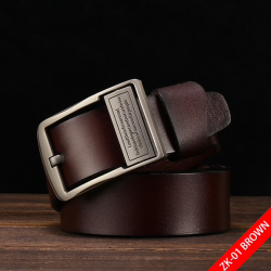 Genuine leather belt with pin buckle