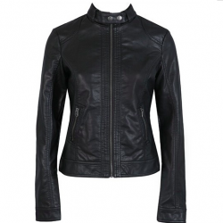 Women's slim leather jacket