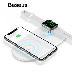 2 in 1 charger for iPhone X XS Max XR Apple Watch 4 3 2 Samsung S8 S9 10W fast wireless charging pad