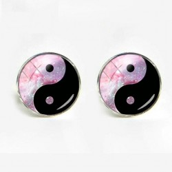 Yin Yang galaxy crystal glass cufflinks