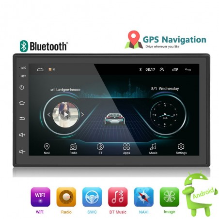 Android 9 - DIN-2 car radio - 7'' touch screen - GPS - Bluetooth - FM - WIFI -MP3 - Mirrorlink