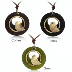 Bird pendant wooden necklace