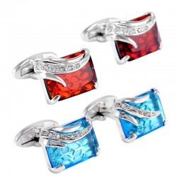 Glass & crystal square cufflinks