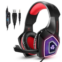Hunterspider V1 stereo gaming headset surround headphones with mic & LED light