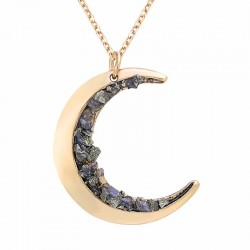 Moon & minerals pendant gold necklace