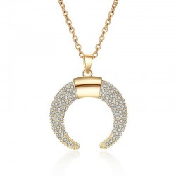 Crystal crescent moon pendant necklace