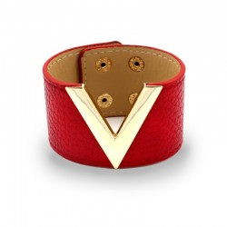 Retro punk style - V letter - leather bracelet