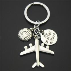 Earth & airplane - silver keychain
