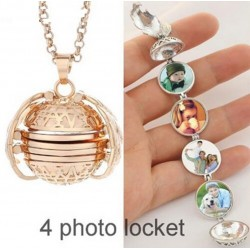 Expandable photo locket necklace