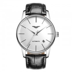 Automatic watch with leather band
