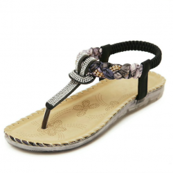 Casual flat sandals with rhinestones