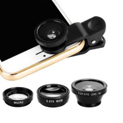 3 in 1 Wide angle macro fish eye camera lens with clip