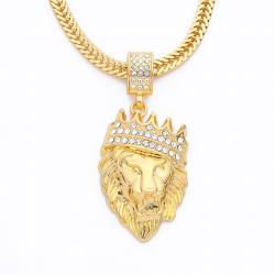 Luxury gold lion head pendant - necklace