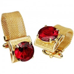 Luxury gold cufflinks with crystal