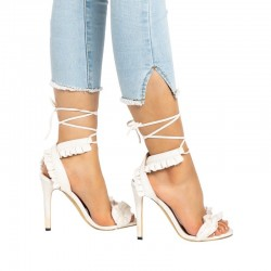 High heel sandals with lace-up