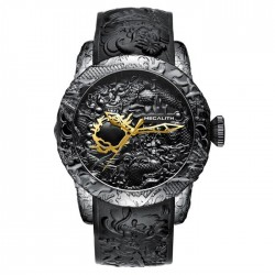 Luxury waterproof watch with dragon sculpture
