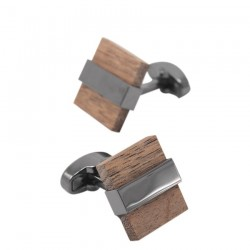 Fashionable wooden square cufflinks