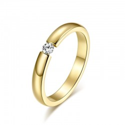 Elegant ring with crystal - stainless steel