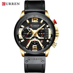 CURREN - luxury leather quartz watch - chronograph - waterproof