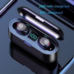 V5.0 F9 TWS wireless Bluetooth earphone - LED display - 2000mAh power bank - headset with microphone