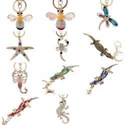 Crystal crocodile & starfish & bee - keychain