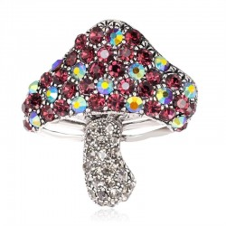 Mushroom with colorful crystals - brooch