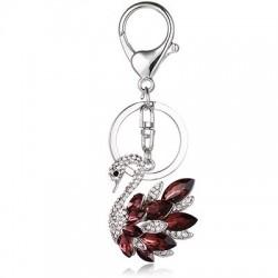 Crystal swan - keychain