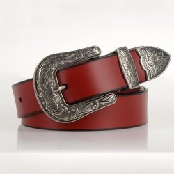 Luxury leather belt with metal buckle
